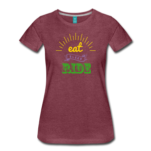 Women's Eat Sleep Ride T-Shirt - heather burgundy