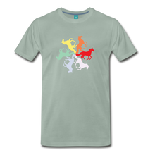 Load image into Gallery viewer, Men's Rainbow Horse Circle T-Shirt - steel green