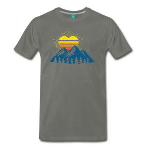 Men's Mountains Sun Heart T-Shirt - asphalt