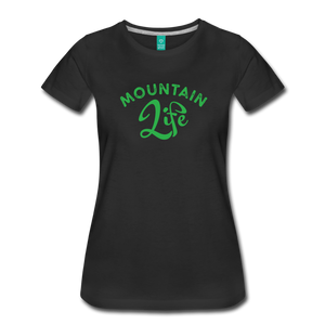 Women's Mountain Life (script) T-Shirt - black