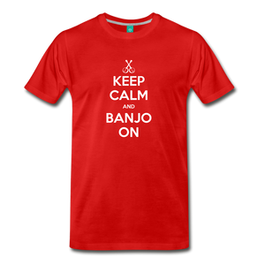 Men's Keep Calm and Banjo On T-Shirt - red