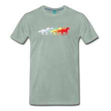 Load image into Gallery viewer, Men's Retro Rainbow Horse T-Shirt - steel green