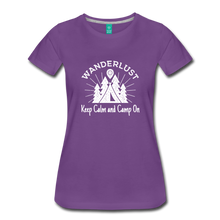 Load image into Gallery viewer, Women's Keep Calm, Camp On (white) - purple