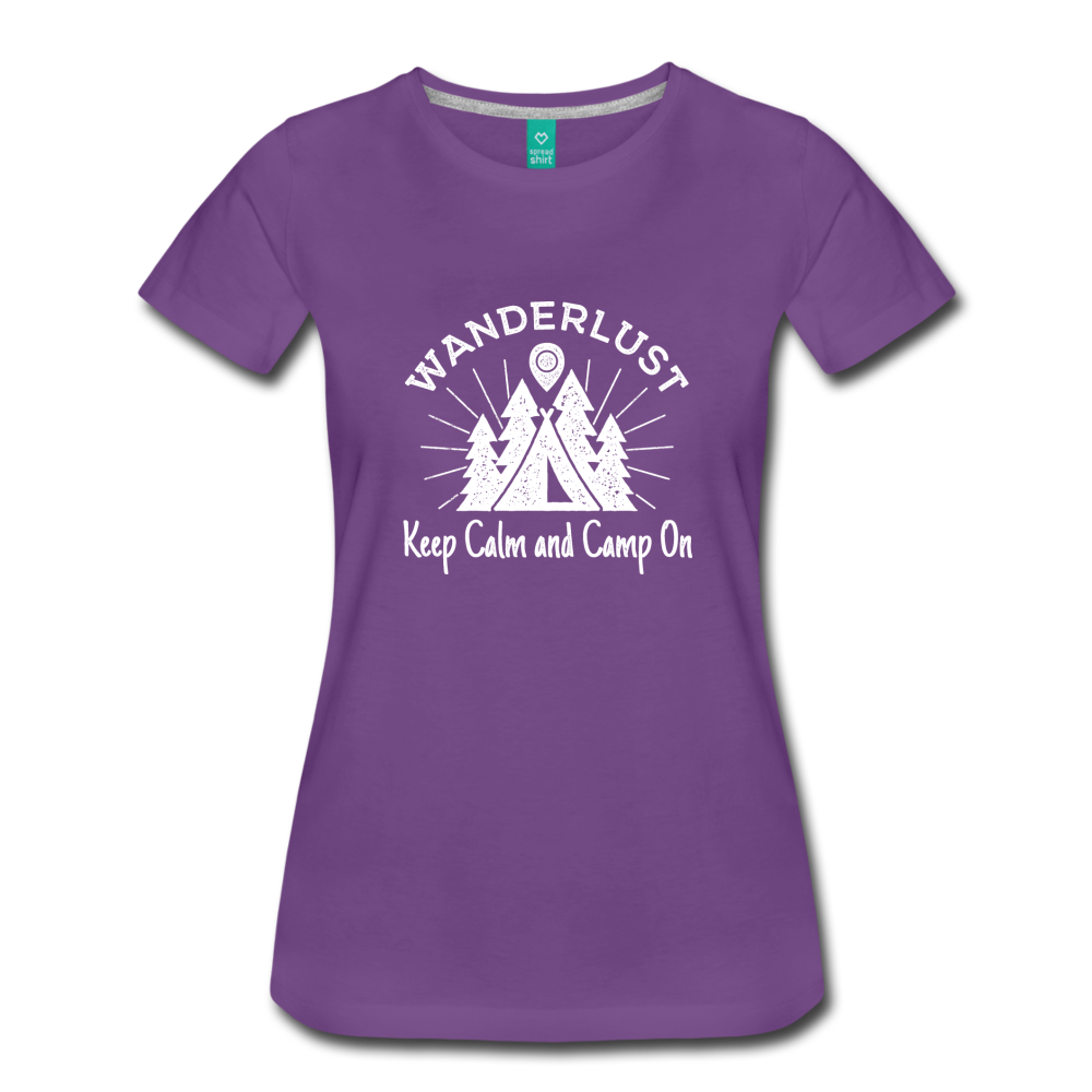 Women's Keep Calm, Camp On (white) - purple