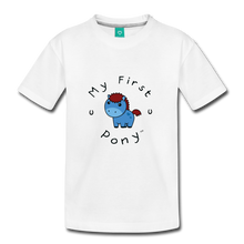 Load image into Gallery viewer, Kids' My First Pony T-Shirt (blue) - white