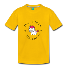 Load image into Gallery viewer, Kids' My First Unicorn T-Shirt (white) - sun yellow