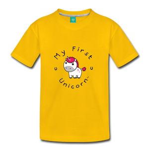 Kids' My First Unicorn T-Shirt (white) - sun yellow
