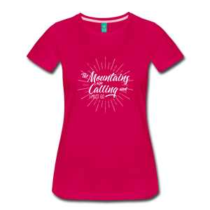 Women's Mountain Calling T-Shirt (white) - dark pink