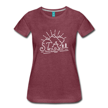 Load image into Gallery viewer, Women's Stay Wild T-Shirt (white) - heather burgundy