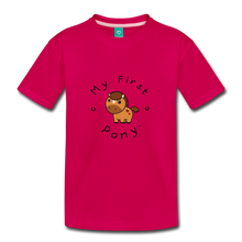 Load image into Gallery viewer, Toddler My First Pony T-Shirt (light brown) - dark pink