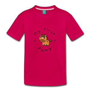 Toddler My First Pony T-Shirt (light brown) - dark pink