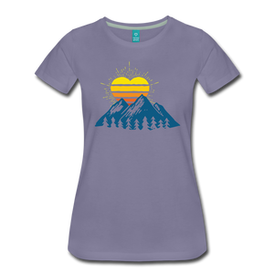 Women's Mountains Sun Heart T-Shirt - washed violet