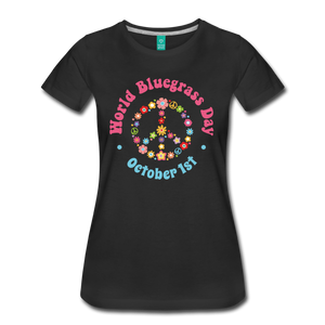 Women's Flower Retro World Bluegrass Day T-Shirt - black