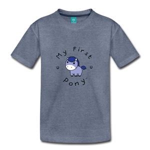 Toddler My First Pony T-Shirt (blue patch) - heather blue