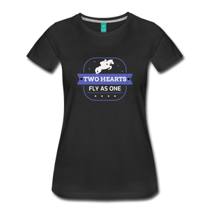 Women's Two Hearts Fly as One T-Shirt - black