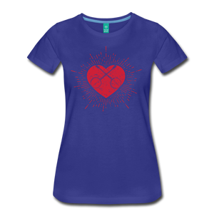 Women's Sunburst Heart Banjo T-Shirt - royal blue