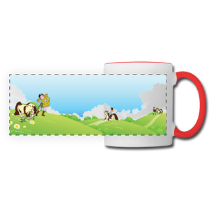Horse on a Spring Day Mug - white/red