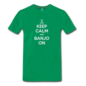 Men's Keep Calm and Banjo On T-Shirt - kelly green