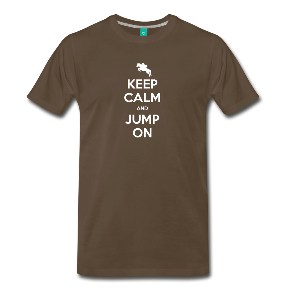 Men's Keep Calm and Jump On T-Shirt - noble brown