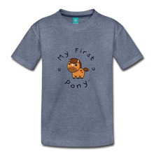 Load image into Gallery viewer, Toddler My First Pony T-Shirt (light brown) - heather blue
