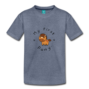 Toddler My First Pony T-Shirt (light brown) - heather blue