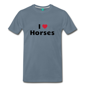 Men's I Love Horses T-Shirt - steel blue