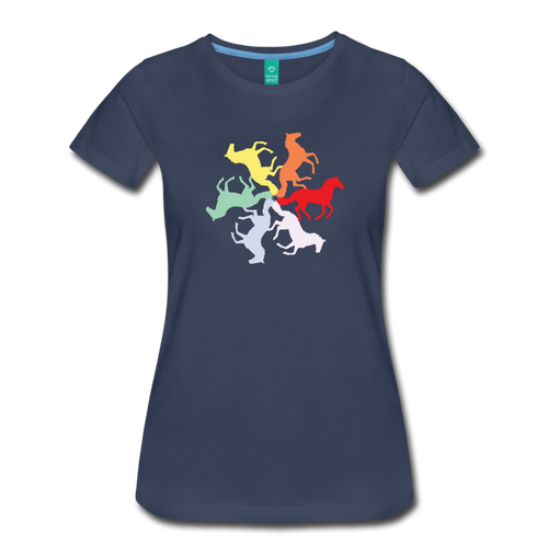 Women's Rainbow Horse Circle T-Shirt - navy