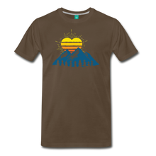 Load image into Gallery viewer, Men's Mountains Sun Heart T-Shirt - noble brown