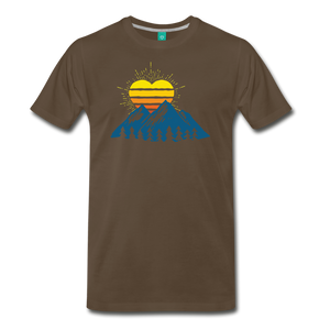 Men's Mountains Sun Heart T-Shirt - noble brown