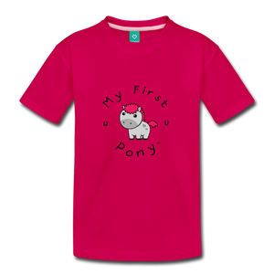 Toddler My First Pony T-Shirt (light grey) - dark pink