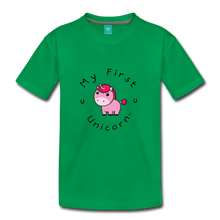 Load image into Gallery viewer, Kids' My First Unicorn T-Shirt (pink) - kelly green