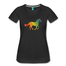 Load image into Gallery viewer, Women's Rainbow Distressed Horse T-Shirt - black