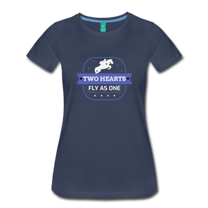 Women's Two Hearts Fly as One T-Shirt - navy