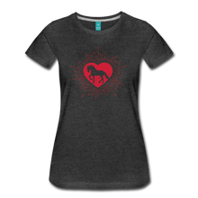 Load image into Gallery viewer, Women's Sunburst Heart Horse T-Shirt - charcoal gray
