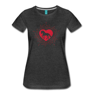 Women's Sunburst Heart Horse T-Shirt - charcoal gray