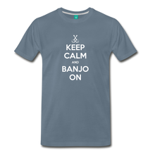 Load image into Gallery viewer, Men's Keep Calm and Banjo On T-Shirt - steel blue
