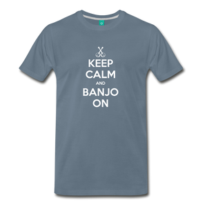 Men's Keep Calm and Banjo On T-Shirt - steel blue