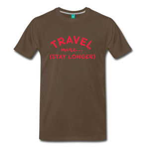 Men's Travel More Stay Longer T-Shirt - noble brown