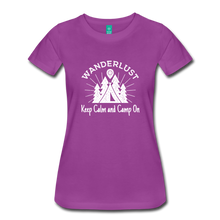 Load image into Gallery viewer, Women's Keep Calm, Camp On (white) - light purple