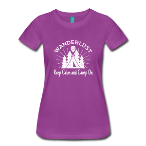 Women's Keep Calm, Camp On (white) - light purple