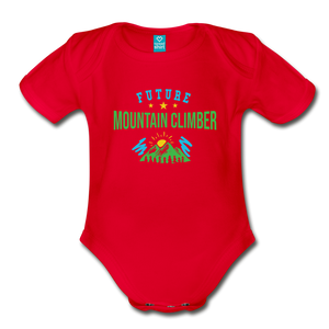 Future Mountain Climber Baby Bodysuit - red
