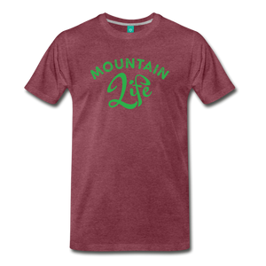 Men's Mountain Life (script) T-Shirt - heather burgundy