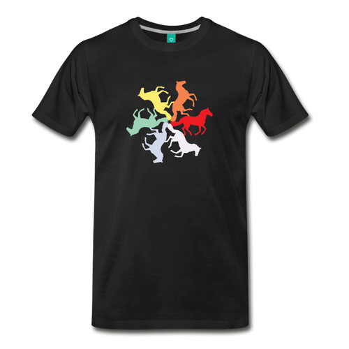 Men's Rainbow Horse Circle T-Shirt - black