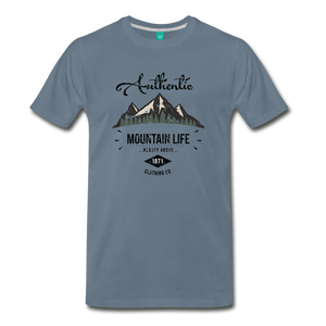 Men's Dark Authentic Mountain Life Clothing Co. T-Shirt - steel blue