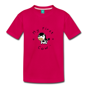 Toddler My First Cow T-Shirt - dark pink