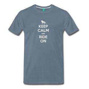 Men's Keep Calm and Ride On T-Shirt - steel blue