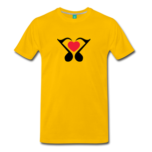 Men's Heart Music Note T-Shirt - sun yellow