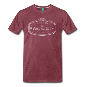 Men's The Bluegrass Cafe (music is life) T-Shirt - heather burgundy