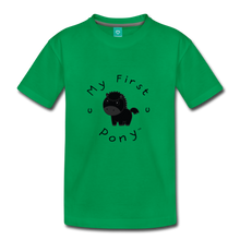 Load image into Gallery viewer, Kids' My First Pony T-Shirt (black) - kelly green
