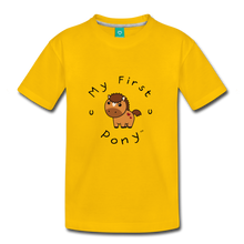 Load image into Gallery viewer, Kids' My First Pony T-Shirt (light brown) - sun yellow